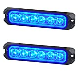 WOWTOU Blue Warning Grill Light Head, IP67 Waterproof Surface Mounts Mini Strobe Light 6W 6 LEDs 18 Patterns for POV, Utility Vehicle, Construction Vehicle, Tow Truck Van (2 Pack)