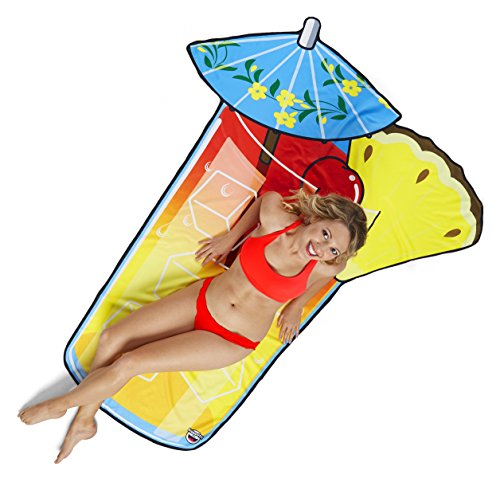 BigMouth Inc Gigantic Tropical Drink Beach Blanket- Fun Beach Blanket Perfect for the Beach, Pool, Lake and More, Machine -