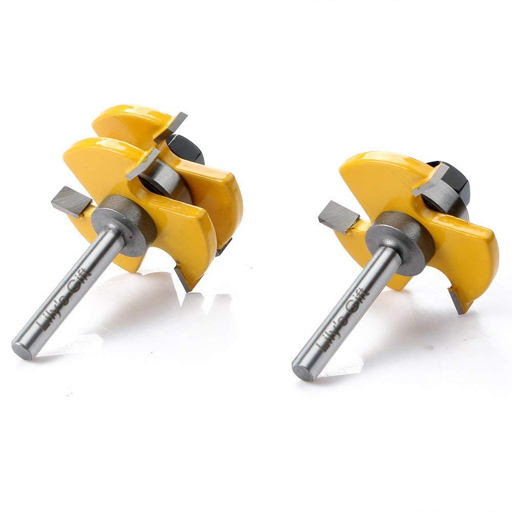 WREOW Tongue and Groove Router Bit, 1/4'' Shank Grooving Router Bit, 3 Teeth T Shape, Wood Milling Saw Cutter New Woodworking Tools 2 pcs