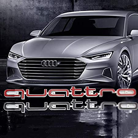 UTOPIAY Auto Dekoratives Logo Quattro Logo Emblem F/ür K/ühlergrill ABS Buchstaben Aufkleber F/ür A-UDI A3 A4 A6 A7 Q3 Q5,Schwarz