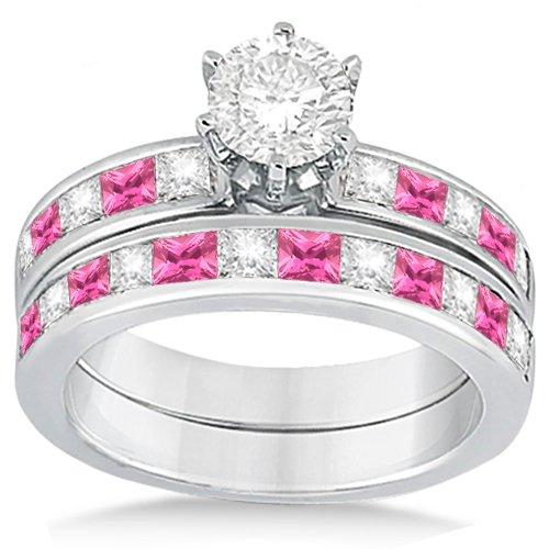 Canal Pink Sapphire & Diamond Bridal Set Palladium ...