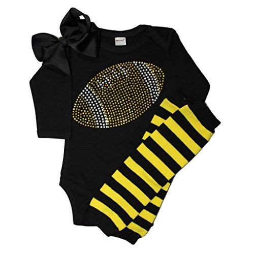 FanGarb Baby Girl's Black & Yellow Football Team Colored Rhinestone Black Outfit 6-12mo (Pittsburgh Steelers Outfit)