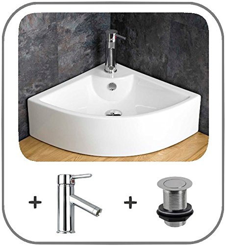 Clickbasin Prato Large 65.6cm Counter Mounted Corner Sink With Mono Tap And Basin Waste
