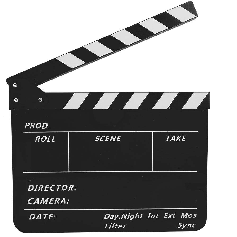 Vbestlife Film Clap Board White BlackboardPAV1BBE Film and Television Photography Props with Whiteboard Pen Movie Action Board Cut Scene Director Clapper