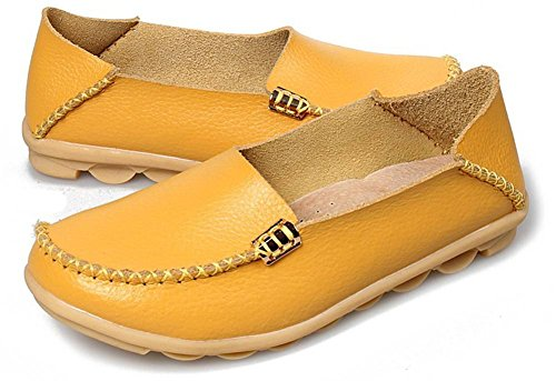 Flat Loafers Driving Moccasin Womens Fangsto Cowhide Ons Slip Casual Slipper Yellow Shoes Bfn8gAxw