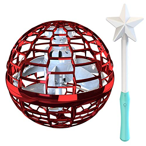 Keqin Flying Ball Toys, Globe Shape Mini Flying Toy with Star Shape Controller Great, Flynova Flying Spinner 360° Rotating Spinning LED Lights for Kids Adults Indoor Outdoor (Crimson)