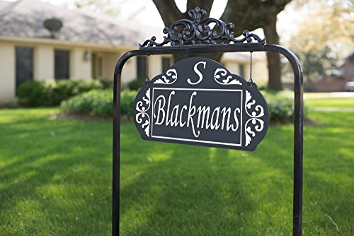 Address America Yard Sign Le Paris Estate by Custom House Number Plaque to Make Your Home Clearly Visible Day/Night [Highly Reflective Address Number, Double Sided, Classy Metal Craftsmanship] Black (Paris House Numbers)