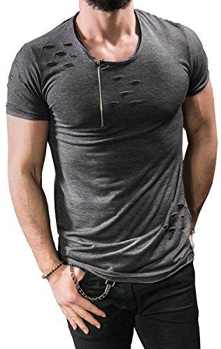 cfed574b336 NITAGUT Mens Hipster Hiphop Holes Design T-Shirt Cotton Crewneck Tees  Zipper Trim (Large