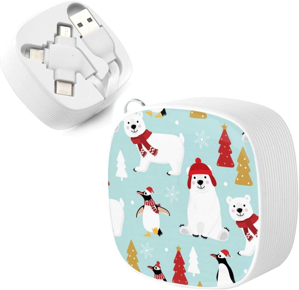 Multi Device Charging Cable Greeting Card Penguin Christmas Tree Gifts Multi 3 in 1 Retractable Multi Lightning Charging Cable with Micro USB//Type C Compatible with Cell Phones Tablets and More