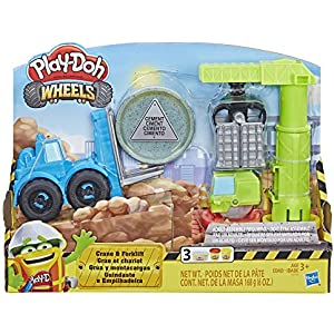 Play-Doh Wheels Crane & Forklift Construction Toys with Non-Toxic Cement Buildin' Compound Plus 2 Additional Colors