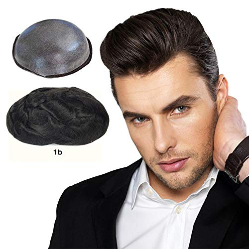 Soft Thin Skin Toupee for Men Human Hair, LLWear Hair Pieces Single Knotted Natural Wavy Men's Replacement System with 8×10 inch Cap Off Black(#1b) (The Best Hair Replacement System)