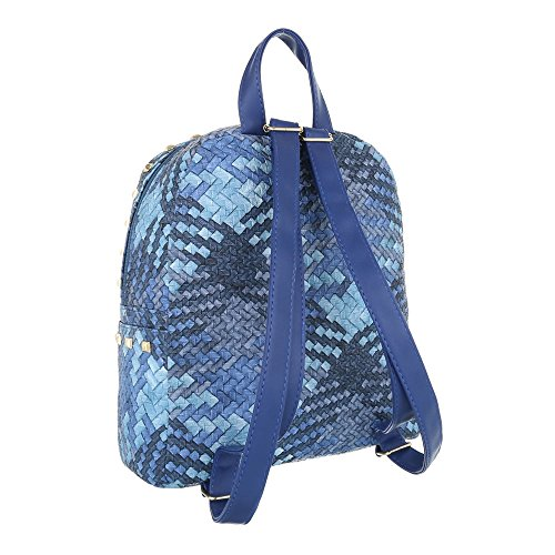 Ital-Design - Bolso mochila  de Material Sintético para mujer Azul