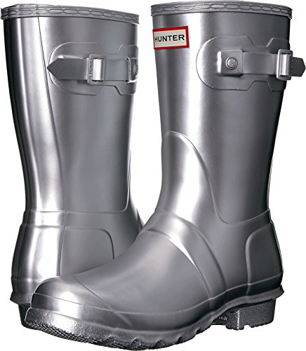 Hunter Women's Original Short Rain Boots Silver 7 M US