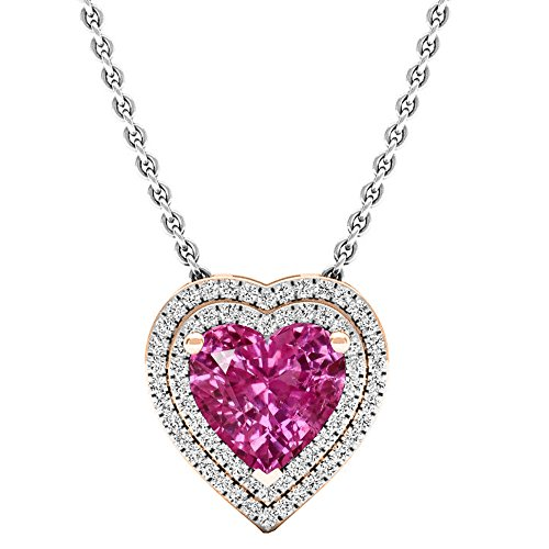 (Dazzlingrock Collection 14K 8 MM Heart Lab Created Pink Sapphire & Round Diamond Heart Double Halo Pendant, Rose Gold)