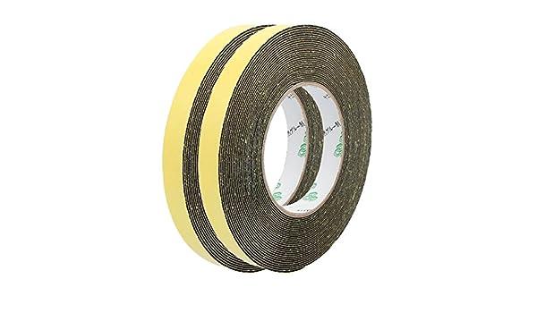 //® 2pcs 15/mm de ancho 1/mm de grosor sola cara cinta de espuma esponja negro 10/Meter longitud Sourcingmap/