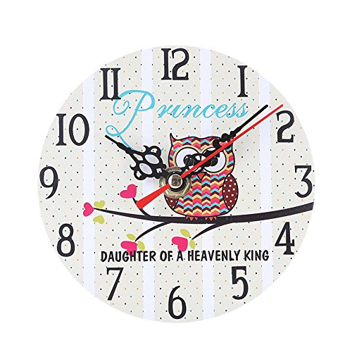 Alarm Clocks - Modern Design Wooden Alarm Clock Owl Vintage Rustic Chic Home Office Cafe Table Decoration Art Watch - Oversized Retro Bedrooms Quiet Jumbo Cute Timex Therapy You Rose