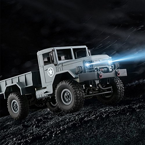 E-SCENERY WPLB-14 1/16 4WD RC Off-road Truck, High Speed Wireless Remote Control Semi-truck Military Truck Car With Rechargeable Battery (Army Green)