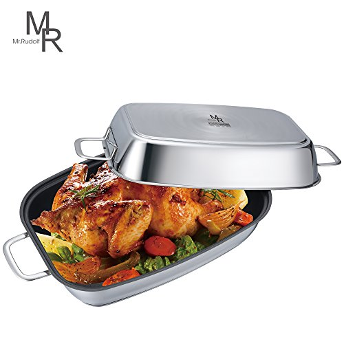 Classic Non Stick Roaster - Mr. Rudolf 18/10 Stainless Steel Nonstick 14-inch Rectangular Roaster with Lid Dishwasher Safe Oven Safe Rectangular Roasting Pan PFOA Free 6.4 Quart + 4.2 Quart