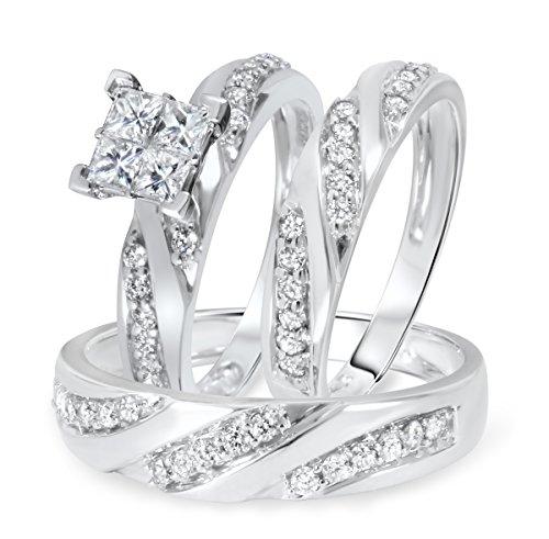 Silvernshine Jewels 1 1/4 CT. T.W. Diamond Ladies Engagement Ring Wedding Trio Set 14K White Gold Fn by Silvernshine Jewels