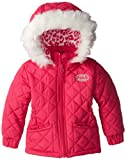 Steve Madden Baby Girl Jacket Faux Fur Trim,Pink Rose,12 Months