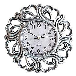 SUN-E 10 Inch Round Classic Wall Clock Decor Silent Non Ticking Modern Retro European Style Wall Clocks Decorative for Home,Office,Perfect Wall Decoration (Silver)