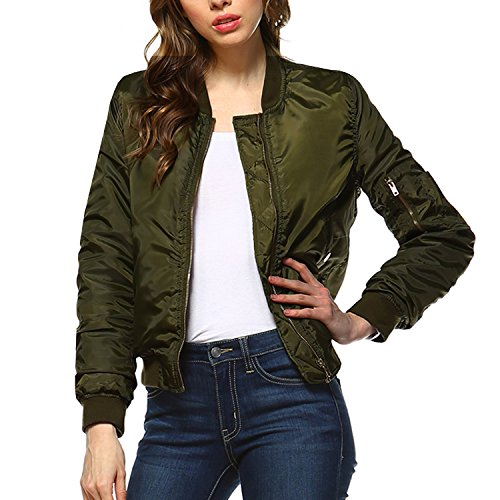 Fashionazzle Women's Solid Classic Quilted Short Bomber Jacket Padded Coat (Large, BMJ05-Olive) 51uY4iC2bxL