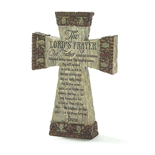 The Lord's Prayer Antiqued Filigree 9 Inch Resin Tabletop Cross