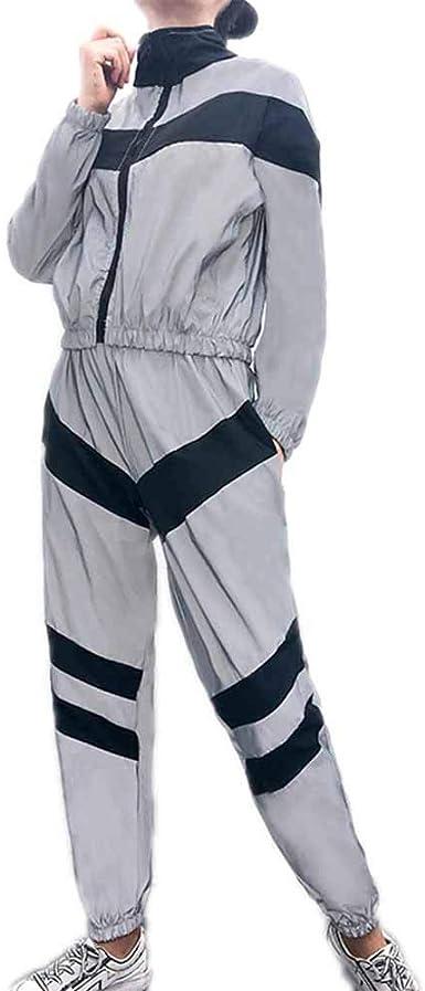 Jogger Reflectante de la Mujer Que empalma Tops + Pantalones Traje ...