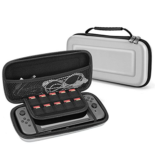 TNP Nintendo Switch Travel Case Portable Travel Carry Hard Shell EVA Material Pouch Traveler Deluxe Cover w/ Strap Handle for Switch Console, Joy Con Controller, Game Card Holder Accessories (Joy Green)