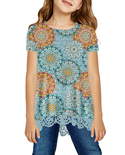 storeofbaby Casual Tops for Girls A Line Short Sleeve Flower Printed T-Shirts