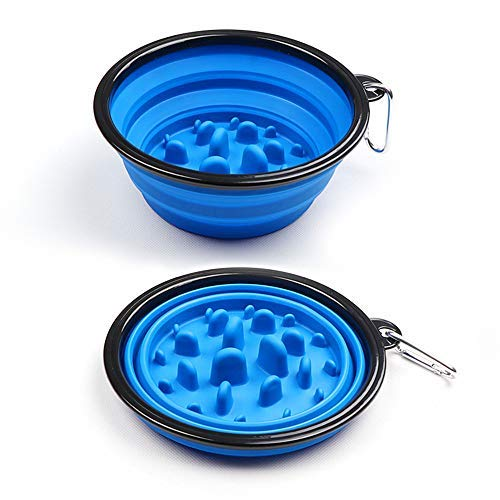 Foir Collapsible Silicone Dog Bowl,Fun Feeder Slow Feed Interactive Bloat Stop Dog Bowl,Portable Raised Tralve Camping…