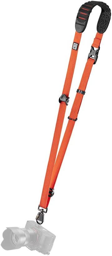 BlackRapid Cross Shot Camera Sling, Original Camera Sling Design, Strap for DSLR, SLR and Mirrorless Cameras - Orange - with Straight Shoulder Pad for Right-Handed and Left-Handed Photographers