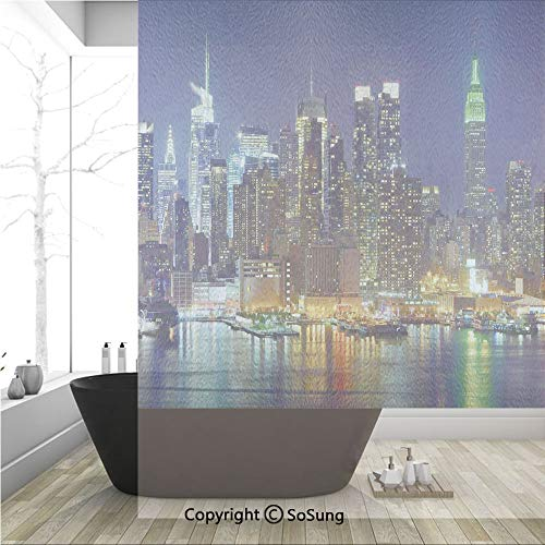 (3D Decorative Privacy Window Films,NYC Midtown Skyline in Evening Skyscrapers Amazing Metropolis City States Photo,No-Glue Self Static Cling Glass film for Home Bedroom Bathroom Kitchen Office 36x48 I)
