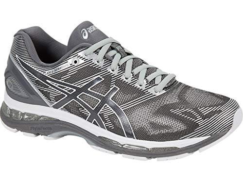 ASICS Men's Gel-Nimbus 19 Running Shoe, Carbon/White/Silver, 10 4E -