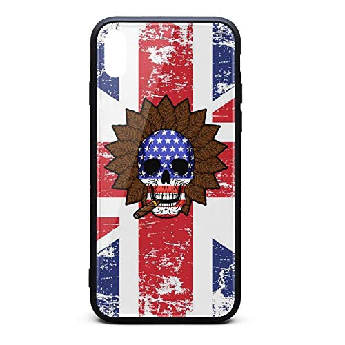 (iPhone Xs MAX Case Skull with Cigar Tobacco Leaves Flag USA Shock Absorption Technology Soft TPU Rubber Phone Cover for Apple with Bumper Snap on)