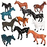 Kidsco Vinyl Horse Figures - Pack of 12 - 2.25 Inches - Assorted Colors Horse Figurines - for Kids Great Party Favors, Bag Stuffers, Fun, Toy, Gift, Prize, Piñata Fillers