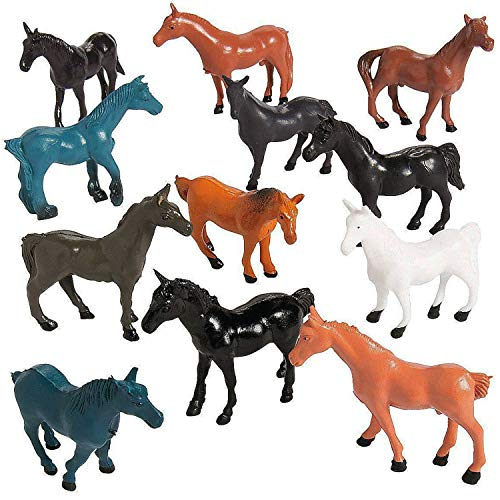 Kicko Vinyl Horse Figures - Pack of 12 - 2.25 Inches - Assorted Colors Horse Figurines - for Kids Great Party Favors, Bag Stuffers, Fun, Toy, Gift, Prize, Pinata Fillers