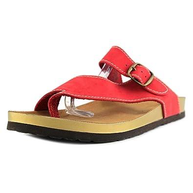 White Mountain Womens Henri Split Toe Casual Slide Sandals, Red/Nubuck,  Size 9.0