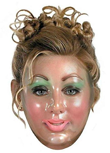 Transparent Young Woman Plastic Adult Mask (Plastic Transparent Mask)