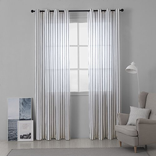 MIULEE Window Curtain Sheer Elegance Pinstripe Voile Grommet Window Treatment for Bedroom Living Room (Set of 2 Panels, 52x84 Inch Black Stripe) (Stripe Sheer Panel)