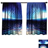 Qianhe-HOME Waterproof Window Curtain Sports Basketball Arena Court Fans Flashlights Competition Theme Game Excitement Print Navy Black Blackout Draperies Bedroom (W63 x L72 -Inch 2 Panels)