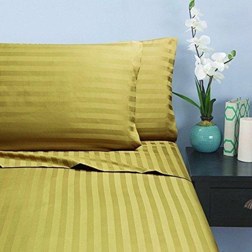 Splendid 600 Thread Count Egyptian Cotton 4-Piece Queen Bed Sheet Set with Sateen Deep Pocket, Striped Gold - Star Wars Sheet 100 Cotton
