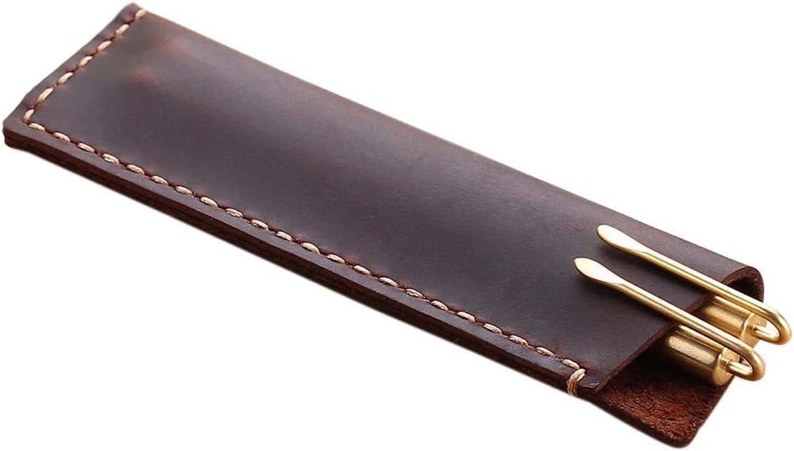 color Estilo A. Estuche de piel retro hecho a mano funda para pluma estilogr/áfica ForeWan