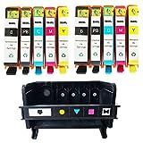 QINK (Como Pack)1 Pack 5 Slot 564 Print Head for 564 CB326-30001 CN642A Printhead and 10 Pack 564XL (Black Photo Black Cyan Magenta Yellow) Ink Cartridge