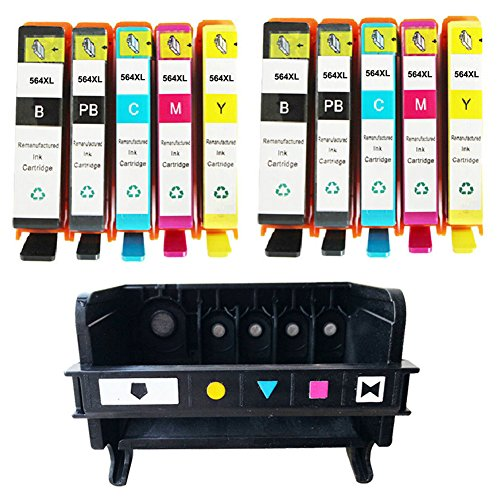QINK (Como Pack)1 Pack 5 Slot 564 Print Head for 564 CB326-30001 CN642A Printhead and 10 Pack 564XL (Black Photo Black Cyan Magenta Yellow) Ink Cartridge by QINK