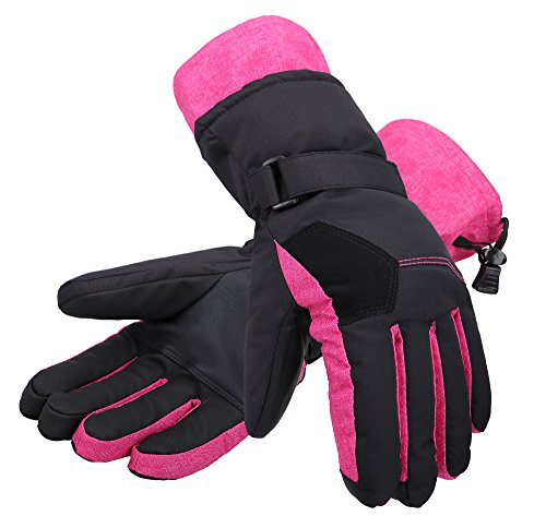 Andorra Women's Two-Tone Touchscreen Thinsulate Insulated Ski Snowboard Gloves,Black w/Pink Trim,M
