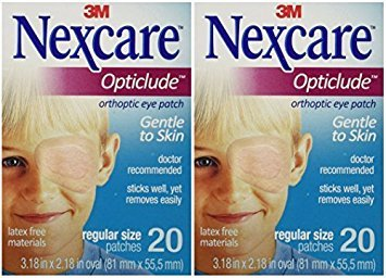 Nexcare Opticlude Orthoptic Eye Patches, Regular Size, 20-Count (Pack of 2) by Nexcare (Nexcare Hypoallergenic Eye Patch)