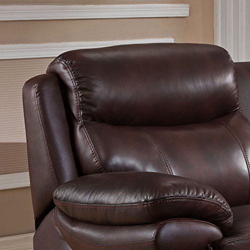 Amax Leather Summerlands Leather Power Reclining 3 Piece Sofa Set with Power Headrest, Brown