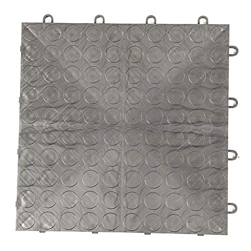 IncStores Coin Grid-Loc Garage Flooring Snap Together Mat Drainage Tiles (48 Pack, Graphite)