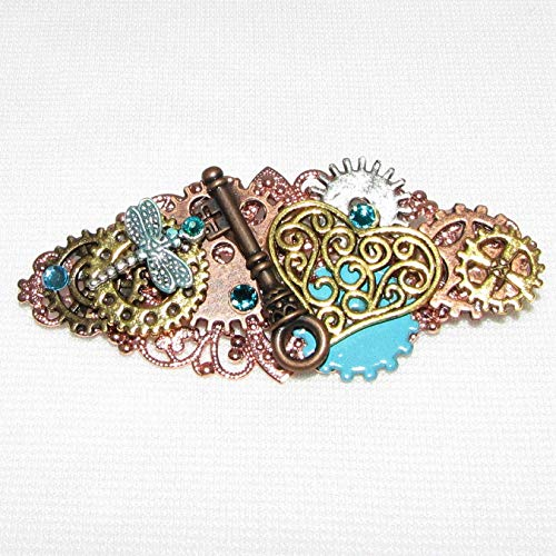 Steampunk Dragonfly Clip Hearts Valentines Handmade Hair Clip Barrette